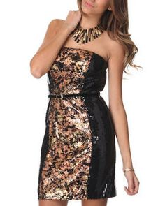 Strapless Colorblock Sequin Dress by DJP OUTLET @ DrJays.com