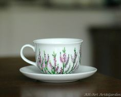 Great gift for house warmingparty. Lovely white mug / Hand-painted coffee cup with heather – a unique product by AK-Art-Garden via en.DaWanda.com #flower #purple