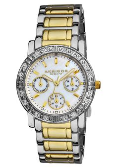 Shop for Akribos XXIV Women's Crystal Multifunction Silver-Tone Bracelet Watch. Get free delivery On EVERYTHING* Overstock - Your Online Watches Store! Gold And Silver Bracelets, Metal Bracelets, Crystal Bracelets, Seiko, Watch Sale, Gold Watch, Bracelet Watch, Jewelry Watches, Crystals