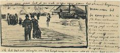 Vincent van Gogh Letter Sketches, The Hague: 27-Sep, 1882 Van Gogh Museum Amsterdam, The Netherlands, Europe F: 237, JH: 248 Image Only - Van Gogh: Beach with People Walking and Boats