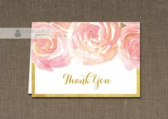 Blush Pink & Gold Thank You Card folded printable watercolor flowers bloom and gold metallic trim DIY INSTANT by digibuddhaPaperie, $12.00