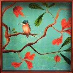 rockflowerpaper Kingfisher Lacquer Serving Tray, Square, 15-inches