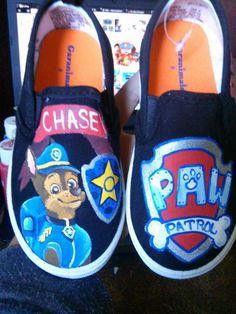 Paw Patrol fan art custom hand painted shoes