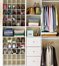 I love the idea of having a wall of small sections in a wardrobe for shoes, purses, scarves etc