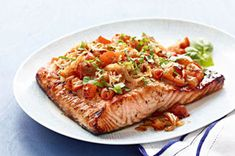 Perfect Grilled Bruschetta Salmon Recipe - Kraft Recipes.......I think you would like this Nina :)
