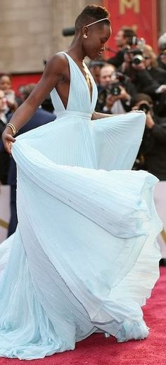 Lupita Nyong'o. Beautiful flowy gown