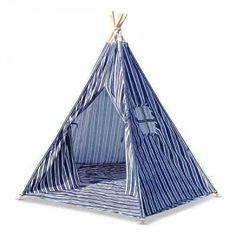 5 Poles Childs Teepee Kids Play Tent Canvas Indoor Outdoor Tipi Playhouse Blue & White