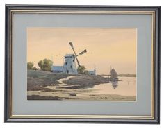 """Selkirk Auctioneers  TWO VIEWS, WINDMILL AND CANAL BY W. F. DELL (AMERICAN, LATE 19TH-EARLY 20TH CENTURY).  Watercolors, signed and dated """"'95"""". One with a windmill and sailboat, the other a canal with bridge, both 9.5""""h. 14.25""""w., each matted and framed, 15.5""""h. 20.25""""w.  Estimate $ 300-500"""