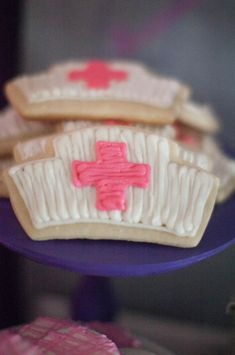 Doc McStuffins Birthday Party Planning Ideas Supplies Cake Idea Doctor Katt-Bickford since u shared this i think you have to make them Doc Mcstuffins Cookies, Doc Mcstuffins Birthday Party, 3rd Birthday Parties, Birthday Fun, Birthday Ideas, Cupcakes, Cupcake Cakes, Nurse Cookies, Fun Cookies
