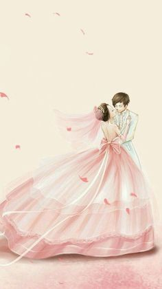 This is so sweet and pretty Cute Couple Art, Anime Love Couple, Cute Anime Couples, Principe Royce, Sweet Drawings, Girl Drawings, Cute Couple Wallpaper, Wedding Dress Sketches, Cute Love Cartoons