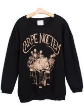 Black Long Sleeve Skeleton Letters Print Sweatshirt $29.19 -#SeizetheNight -Can't wait for this to get here!