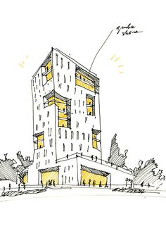 Simplest use of yellow markers on a simple sketch to indicate light/lighting seen from building openings...
