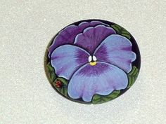 American Red Cross donations - Lilac pansy blossom with ladybug, refrigerator magnet, hand painted rocks by Rockartiste on Etsy