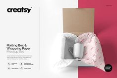 Mailing Box & Wrapping Paper Mockup by Creatsy on @creativemarket
