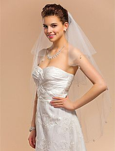Two-tier Fingertip Wedding Veil With Pearl Trim Edge – CAD $ 27.97
