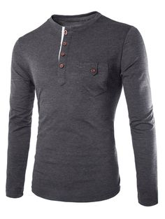 Fashion Slimming Round Neck Contrast Color Placket Long Sleeve Polyester T-Shirt For Men - Deep Gray - 2xl