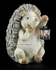 Garden Figure - Hedgehog With Lantern for Tealight - Stone Look Statue