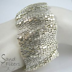 Peyote Cuff Bracelet: Wide Large African Sunset Ripples | A Sand Fibers For Personal/Commercial Use PDF Pattern | Artist: © Carol Dean Sharpe of Sand Fibers; Anthony, New Mexico, USA | sandfibers on etsy