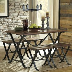 The sleek and chic Signature Design by Ashley Freimore 5 Piece Rectangular Dining Table Set includes a rectangular table and four backless stools. Kitchen Dining Sets, 5 Piece Dining Set, Dining Room Sets, Dining Room Table, Kitchen Nook, Dining Chairs, Rustic Kitchen, Kitchen Tables, Small Dining