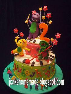 Barney birthday cake Barney Birthday Cake, 2yr Old Birthday, Barney Cake, Barney Party, Elsa Birthday, Happy 2nd Birthday, Baby Birthday, Birthday Parties, Birthday Ideas