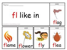 Free Phonics Flip Book - fl words - FREE & Printable - Phonics Flip Book - Words starting with fl - Great phonics practice. Phonics Chart, Phonics Flashcards, Phonics Books, Phonics Reading, Phonics Activities, English Activities, Guided Reading, Blends Worksheets, Abc Worksheets