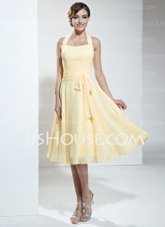 Homecoming Dresses - $91.49 - A-Line/Princess Halter Knee-Length Chiffon Homecoming Dress With Ruffle (022003360) http://jjshouse.com/A-Line-Princess-Halter-Knee-Length-Chiffon-Homecoming-Dress-With-Ruffle-022003360-g3360-  I just like this site...I wish I had somewhere to wear a long gown...I'd be getting it from this site!