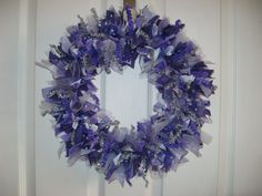 Check out the latest addition to my Etsy shop!  wreath with purple shades of fabric tulle by BabesnBowsBoutique, $19.95