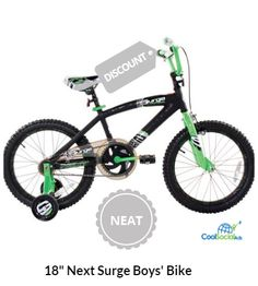 "Next Bicycle 18/"" Surge Childs BMX Bike Black//Green Boy Kid 6 to 9 yrs Rugged NEW"