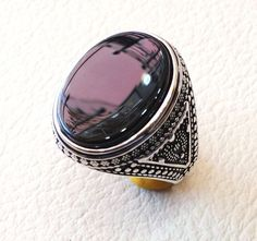 aqeeq natural agate onyx semi precious stone oval black flat gem man ring sterling silver arabic middle eastern turkey style fast shipping Risk free Quality guarantee policy : If you are not satisfied with your item for any reason simply send it to us and you will get a replacement or full refund . no risk ... no cost ... no expenses . please write or choose your size with the order and we will size it for you . Our ring is handcrafted mostly with a few simple tools . but some methods are…