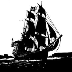 Pen & ink Pirate ship, artist unknown