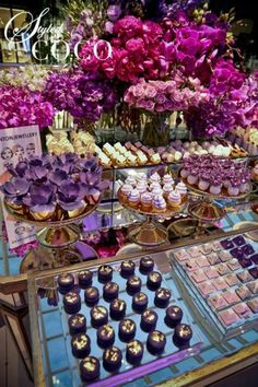 Champagne Soirée created for Anton Jewellery. Gorgeous bright blooms in fushia and purple hues. Sweet Table Wedding, Dessert Bar Wedding, Wedding Candy, Wedding Desserts, Purple Dessert Tables, Dessert Table Birthday, Dessert Buffet, Purple Baby Shower Decorations, Baby Shower Purple