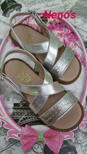 Sandalia Eli glitter plata