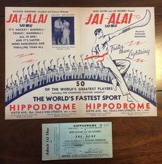 Vintage Jai Alai Hi Li Program Hippodrome NY BABE RUTH 1938 with Original Ticket | eBay