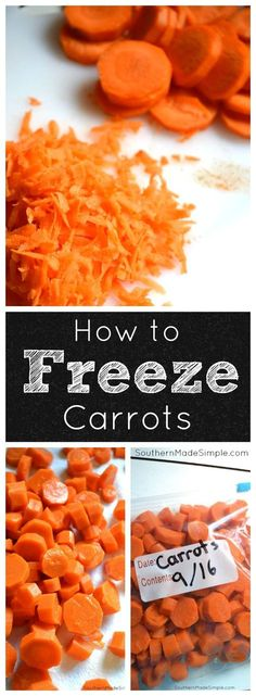 to Freeze Carrots A step by step tutorial on how to properly freeze carrots. No more throwing out produce!A step by step tutorial on how to properly freeze carrots. No more throwing out produce! Freezing Carrots, Freezing Vegetables, Freezing Fruit, Frozen Vegetables, Fruits And Veggies, How To Freeze Carrots, How To Store Carrots, Dinner Vegetables, Healthy Vegetables