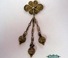 Pasarel - Vintage Gilt Silver & Filigree Brooch Pin, Israel, 1950's. $67.00