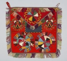 wall Hanging Place Lakai Uzbek 1880 - 1920  47 cm x W 47 cm Wool; silk; cotton 	Embroidered; fringed