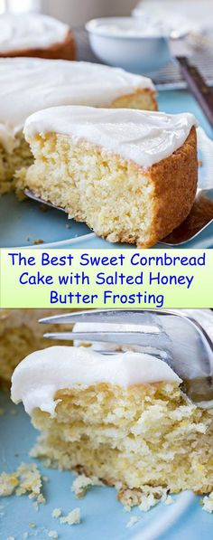 Special Foods And Drinks Are Ready To Accompany You ! Sweet Cornbread Cake with Salted Honey Butter Frosting Jiffy Cornbread Recipes, Cornbread Cake, Honey Cornbread, Cornmeal Recipes, Butter Frosting, Frosting Recipes, Dessert Recipes, Sweet Desserts, Cake Recipes