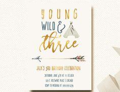 Young Wild Three Birthday Invitation Boys Tribal by DesignOnPaper