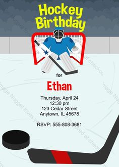Free Hockey Invitations Hockey birthday parties Hockey and