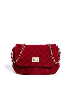 oxblood quilted velvet chain strap purse $35