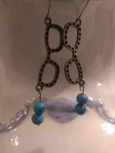 Handmade Jewelry Earrings Hipster Dangle Glasses Librarian, Vintage, Rockabilly, Turquoise, Beads, Bronze