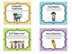 Classroom Leadership Roles- Leader in Me