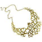 Gold Tone Renaissance Revival Filigree Statement Necklace $18.00