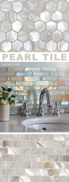 I LOVE pearl tile! Lots of gorgeous tile ideas for kitchen back splashes, master bathrooms, small bathrooms, patios, tub surrounds, or any room of the house!