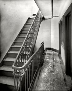 """Circa 1905. """"Tenement stairway and hall, New York City."""" The Trudge Report. 8x10 inch dry plate glass negative, Detroit Publishing Company."""