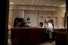 President Barack Obama talks on the phone with Egyptian President Mohammed Morsi, aboard Air Force One during the flight from Phnom Penh, Cambodia to Washington, D.C., Nov. 20, 2012. National Security Advisor Tom Donilon listens at right. (Official White House Photo by Pete Souza)