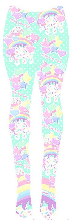 Fairy kei  Rainbow Sweets Tights fairy kei tights by HolleyTeaTime