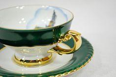 Vintage Tea Cup - RW Bavaria Germany - Rüdesheim Niederwalddenkmal monument - green & gold