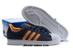 Chaussures En Solde - Homme Adidas Chaussures Superstar Ii Marine Blanc Orange