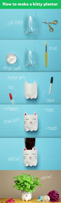 transform a plastic bottle into a cute kitty planter.
